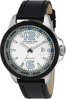 Stuhrling Original Men's 175C.332D52 Octane Grand Concorso Swiss Quartz Date Dial Black Leather Strap Watch