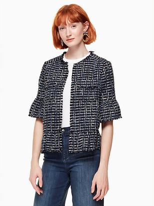 Kate Spade Flounce Sleeve Tweed Jacket