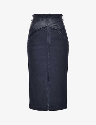 Pinko Elsa faux-leather and denim midi skirt