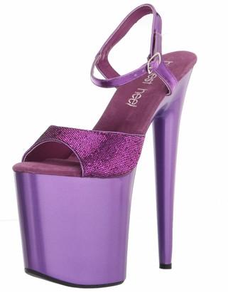 "The Highest Heel womens Zena Series 8"" Heel Sandal With Glitter Upper and Metallic Quarter Strap Platform"