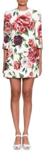 Dolce & Gabbana 3/4-Sleeve Rose & Peony-Print Wool Crepe Knee-Length Dress