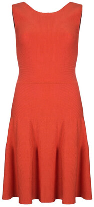 Issa Blood Orange Ribbed Stretch-Knit Dress S