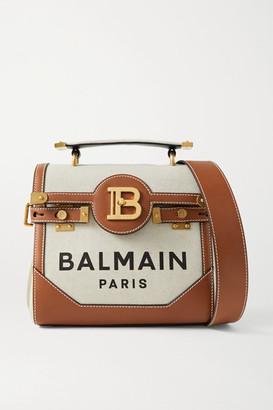 Balmain B-buzz 23 Leather-trimmed Printed Canvas Shoulder Bag - Beige