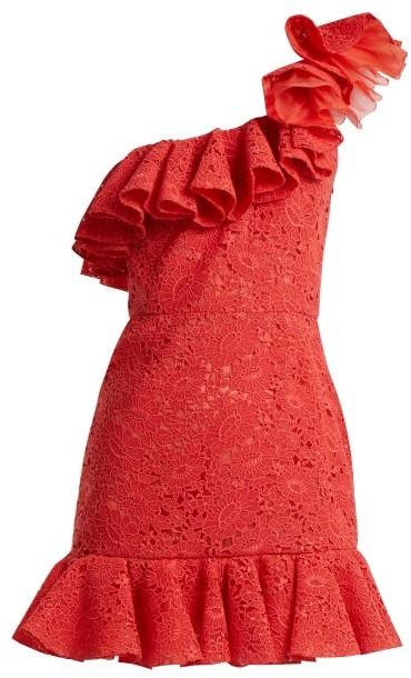 Giambattista Valli One Shoulder Ruffled Lace Mini Dress - Womens - Red