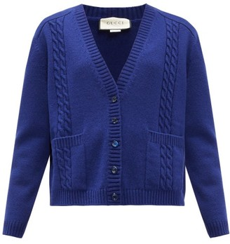 Gucci Gg-logo Cable-knit Wool Cardigan - Womens - Blue