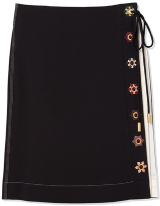Tory Burch Color-Block Wrap Skirt