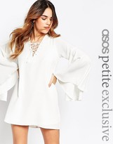 Asos Flare Sleeve Dress with Lace Front Detail