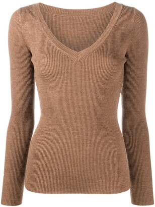 P.A.R.O.S.H. ribbed knit V-neck jumper