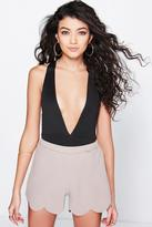 Boohoo Katie Scallop Edge High Waisted Shorts