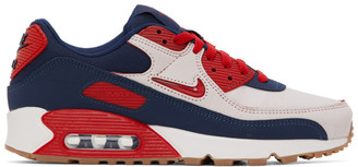 Nike Navy and Red Air Max 90 Sneakers
