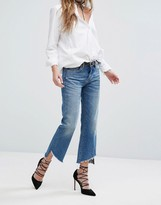 Blank NYC Crop Kick Flare Jean With Raw Step Hem Detail