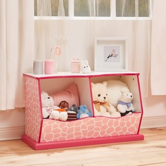 Teamson Kids - Fashion Giraffe Prints Miranda Cubby Storage - Pink / White