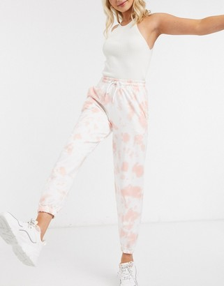New Look cuffed jogger in pink tie dye
