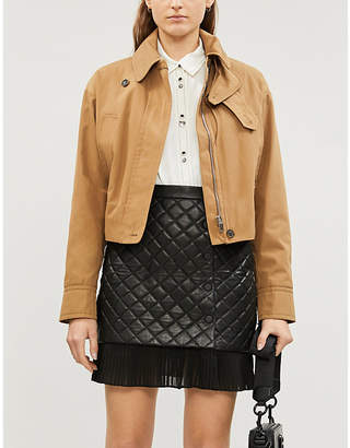 Sandro Ruffled-hem quilted leather mini skirt