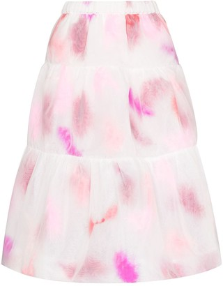 Susan Fang Tie-Dye Tiered Midi Skirt