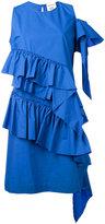 Semi-Couture Semicouture - pleated trim shift dress - women - Cotton - 40