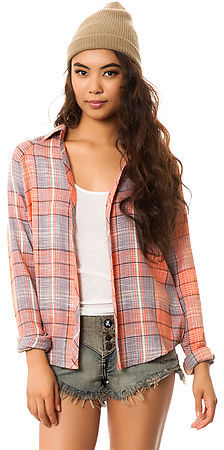 O'Neill The Rayanne Shirt in Burnt Sienna Plaid