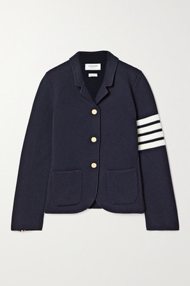 Thom Browne Striped Merino Wool-blend Jacket - Navy
