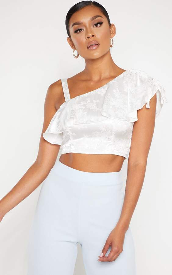 ceae8571d12cae White Satin Crop Top - ShopStyle UK