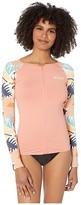 Roxy Swim the Sea Long Sleeve Zip Rashguard (Peach Blush Bright Skies) Women's Swimwear