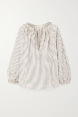 Nili Lotan Brooke Gathered Striped Cotton-blend Voile Top - White