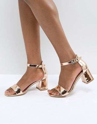 Glamorous Barely There Mid Heeled Block Sandal in Rose Gold