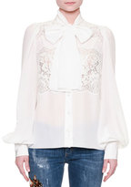Dolce & Gabbana Bishop-Sleeve Lace-Inset Blouse, Optical White