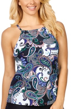 Island Escape Swimwear Paisley Paradise Cali Printed Underwire Tankini, Created for Macy's Women's Swimsuit