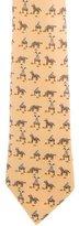 Hermes Whimsical Jockey & Pommel Print Silk Tie