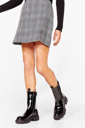 Nasty Gal Womens PU Patent Chelsea Long Gusset Boots - Black