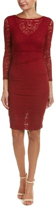 Nicole Miller Women's Swirly Roses Lace Illusion 3/4 SLV Dress
