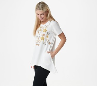 Logo by Lori Goldstein Knit Top with Embroidery & Asymmetric Hem