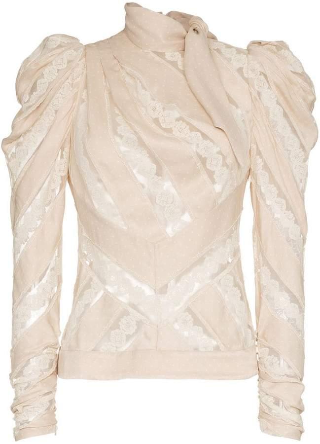 Zimmermann unbridled chevron panel cotton top