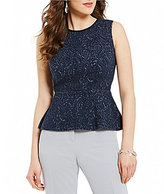 Kasper Textured Knit Jacquard Sleeveless Peplum Top