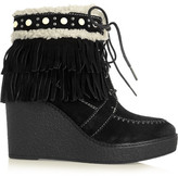 Sam Edelman Kemper Faux Shearling-lined Fringed Suede Wedge Boots - Black