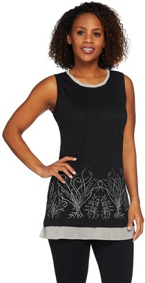 Logo by Lori Goldstein Embellished Slub Knit Tank with Chiffon