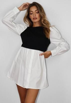 Missguided Black Puff Sleeve Sweater Shirt Dress