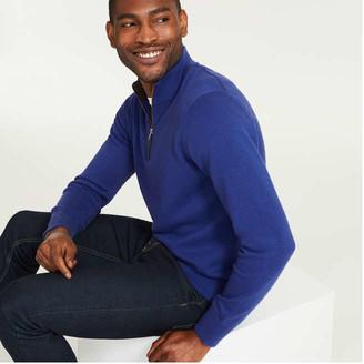 Joe Fresh Men's Quarter Zip Sweater, Blue Mix (Size M)