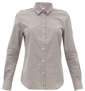 Golden Goose Contrast-check Cotton Poplin Shirt - Womens - Brown