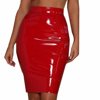 Miss Fortan Women's Slim Fitted Sexy Elastic Leather Paint Skirt High Waist Midi Skirt Lady Girls Daily Fashion Skinny Fitted Stretch Bodycon Pencil Knee-Length Skirt (Black Small)