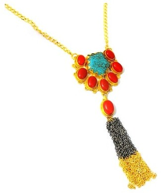Fashionablez Country Of Turquoise, Coral Brass Fancy Fashionable Necklace by Fashionablez