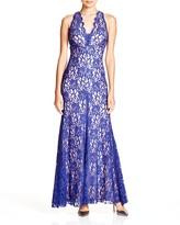 Aqua Sleeveless V-Neck Lace Gown