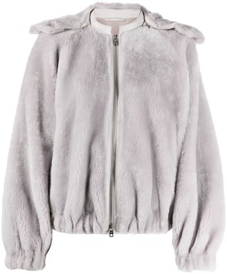Emporio Armani Oversized Hooded Zip-Up Jacket