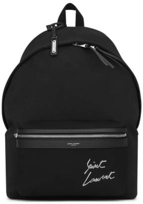 Saint Laurent City Backpack Canvas Silver-tone Embroidered Black