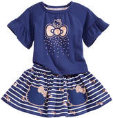 Hello Kitty 2-Pc. Flounce-Sleeve Top & Striped Skirt Set, Baby Girls (0-24 months)