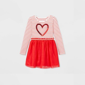 Cat & Jack Girs' Striped Heart ong Seeve Tue Dress - Cat & JackTM