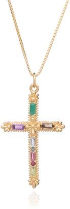 Rachel Jackson London Gemstone Statement Cross Necklace - Gold