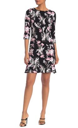 Sandra Darren 3/4 Length Sleeve Floral Print ITY Knit Shift Dress