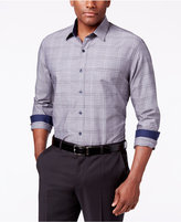 Tasso Elba Men's Big and Tall Plaid Chambray Long-Sleeve Shirt, Classic Fit