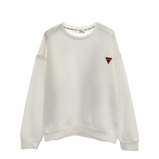 Hosd Fall women's solid color round neck pullover fleece sweater White